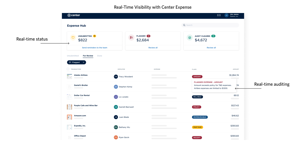 real time expensing in expense hub